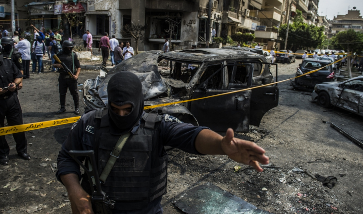 The site of a bomb attack that killed the Egyptian state prosecutor Hisham Barakat in Cairo on June 29, 2015.