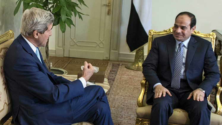 Egypt's President Abdel Fatah al-Sisi, right, holds talks with the U.S. Secretary of State John Kerry.